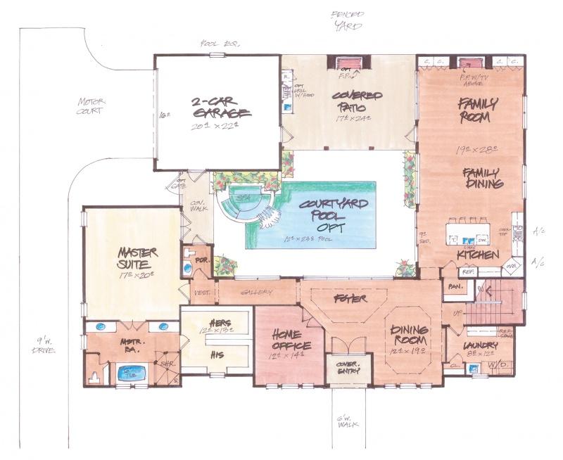 28 mediterranean style floor plans spanish style for Mediterranean style floor plans